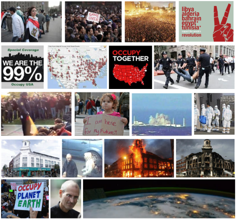 collage of year 2011 - arab spring - occupy - riots in london